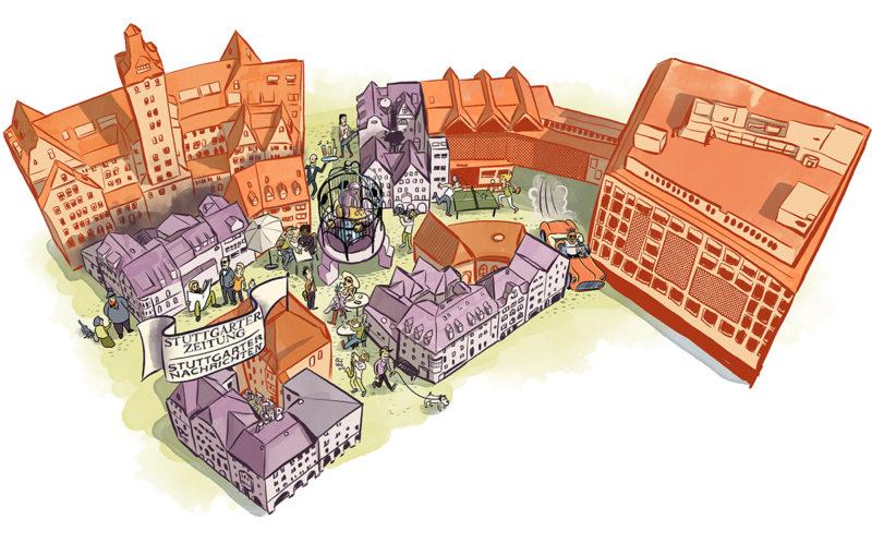 """Das Viertel um den """"Hans im Glück Brunnen"""" in der Geißstraße. Illustrtaion für die Stuttgarter Zeitung 2016"""